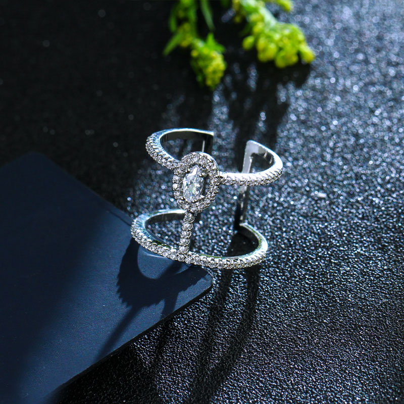 CWWZircons Adjustable Size Fashion Brand Jewelry Micro Pave Cubic Zirconia Stones Silver Color Big Open Rings For Women R065 4