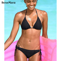 2018 Black Sexy Bikini Bather Women Swimsuit Solid Push Up Swimwear Female Mesh Brazilian Bikini Set