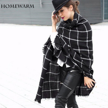 Scarf Women scarves Plaid Wrap Shawl winter scarf luxury brand for women foulard blanket scarf Thicken