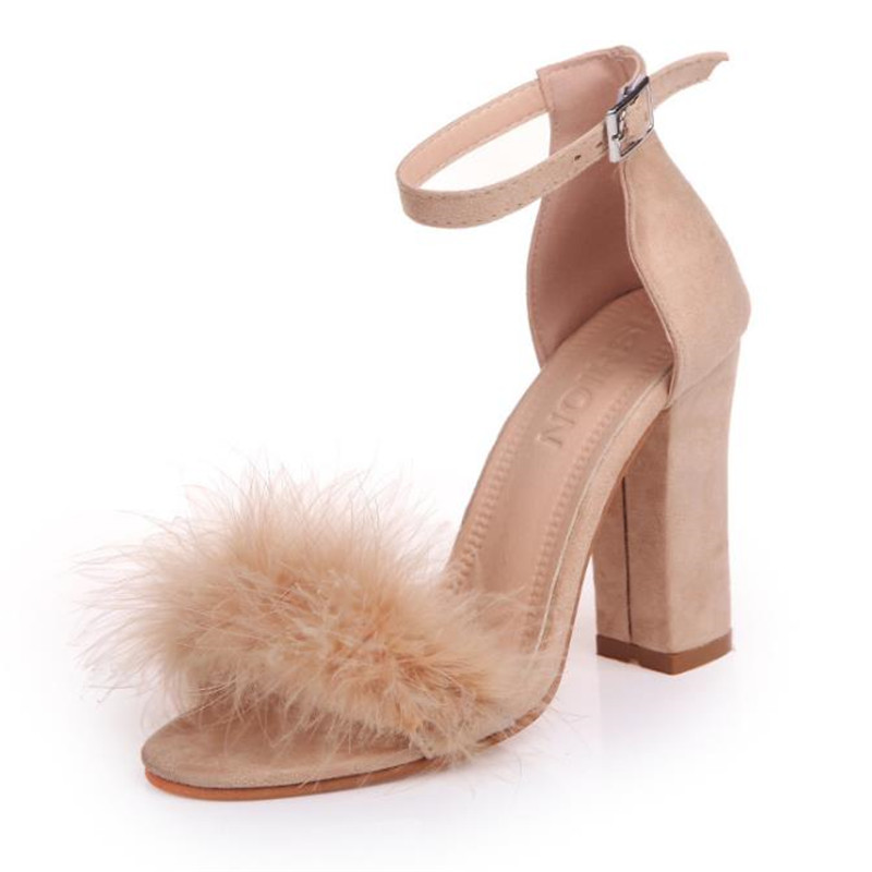 Summer Women Pumps T stage Fur Buckle Strap Platform Open Toe Dancing High Heel Sandals Sexy Party Wedding Shoes Black mujer s01