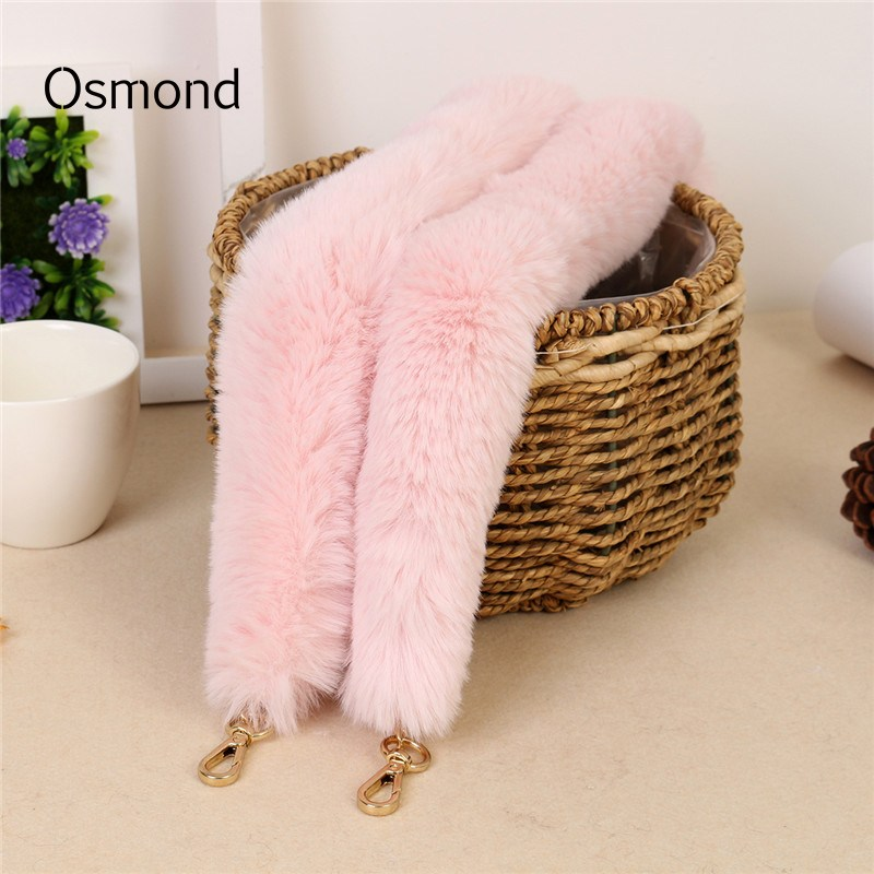Osmond Warm Fur Handbag Handle Bag Strap 45/100/120CM Bag Straps Women Bag Belts Shoulder Belt Bag Accessories Parts Black
