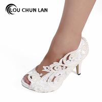 LOUCHUNLAN Woman Shoes Pumps White Open Toe Lace Pearl Rinestone Crystal Wedding Shoes High Heels Party Sexy fashion Women Shoes