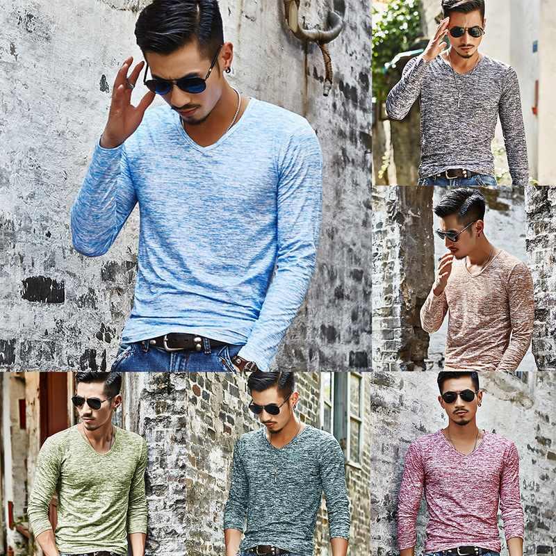 2019 男性カジュアル Tシャツロングスリーブ Tシャツシャツメンズ服ファッション V ネック Tシャツ Undetshirts 3XL 特大