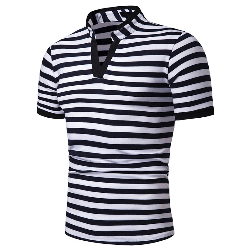 New 2019 Summer Short Sleeve   Polo   Striped Slim Shirt Men Crease Sport Casual   Polos   Breathable White Black Shirt Mens Clothes