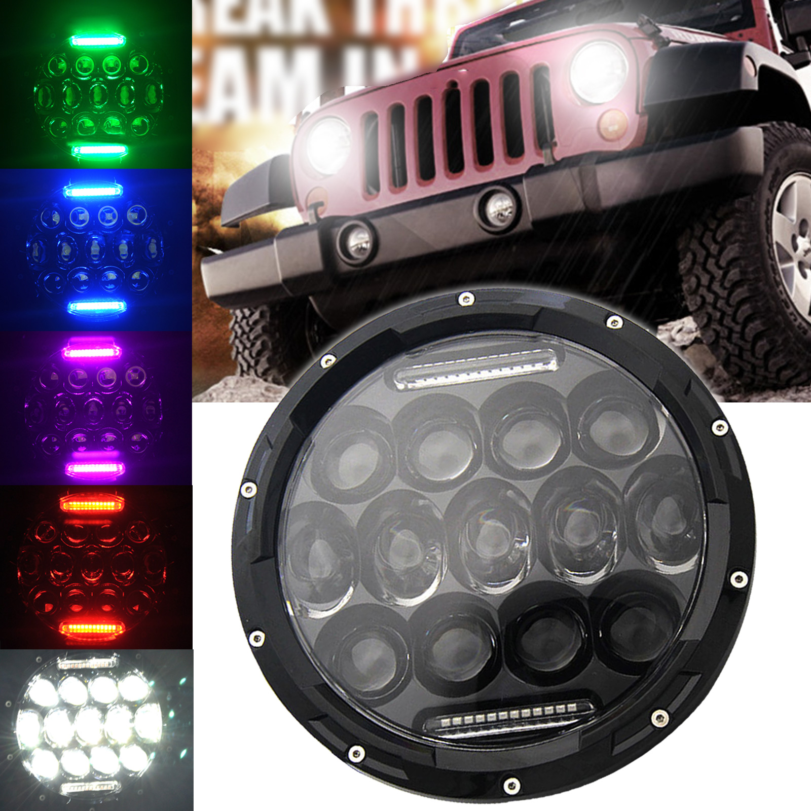 7inch 75W LED Motorcycle Headlight Projector Black Daymaker White for Jeep Wrangler Harley 7inch 75w motorcycle black hi lo beam projector daymaker led chips headlight for harley