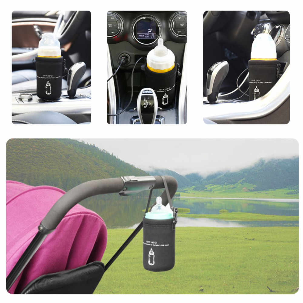 Insulation Bags Bottle Feeding Car Baby Bottle Warmer Heater+ Car Charge Cable Food Milk Water Drink Cup Travel Feeding Quickly
