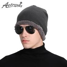 [AETRENDS] 2016 Шапочки Зима Теплая Вязаная Шапка Капот Шапки для Мужчин или Женщин Шапочка Шляпы Z-3904