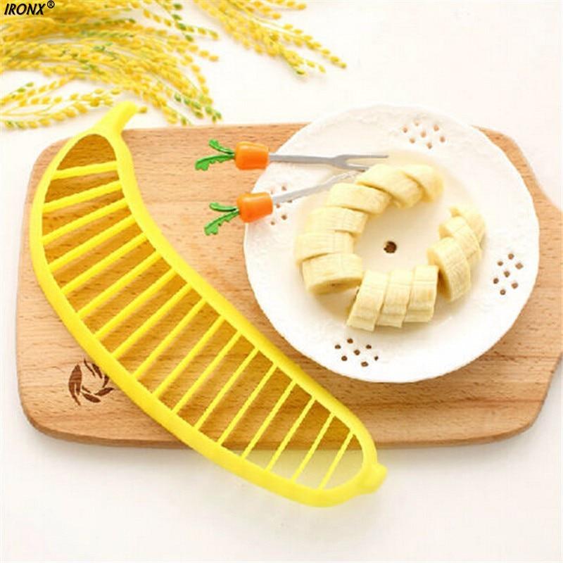 IRONX Banana Slicer Chopper Cutter Plastic Banana font b Salad b font Make Tool Fruit font