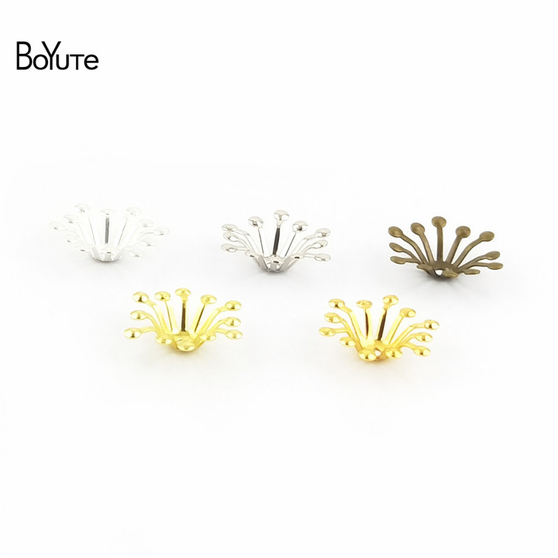 BoYuTe 200Pcs 4 Colors 13MM Flower Charms Wholesale Filigree Metal Brass DIY Jewelry Charms for Wedding Hair Accessories (2)