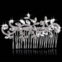 Women Wedding Jewelry Environmental Friendly Zinc Alloy 888 Rhinestone Bride Hair Comb Accessories White Crystal Bridal Combs
