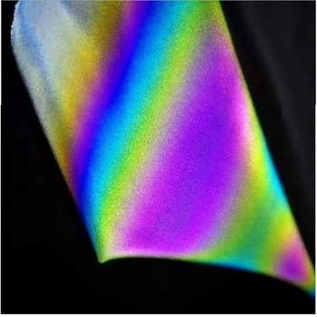 135CM*100CM Iridescence Reflective Fashion Magic Rainbow Elastic Fabric Variable Color Brilliant Reflecting Light Fabric