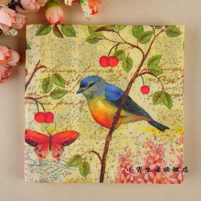 jj11299 20 pcslot 100 virgin wood pulp retro elegant flower and bird - Decorative Paper Napkins