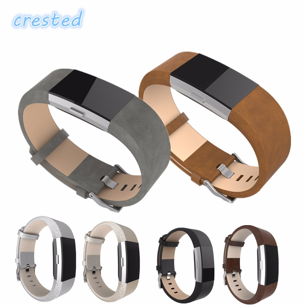 CRESTED Genuine Leather Strap For Fitbit Charge 2 Band Smart Bracelet Replacement Watchband For Fitbit Charge2 With Steel Buckle genboli genuine leather wrist band watch strap for fitbit charge 2 smart bracelet replace watchband with steel buckle