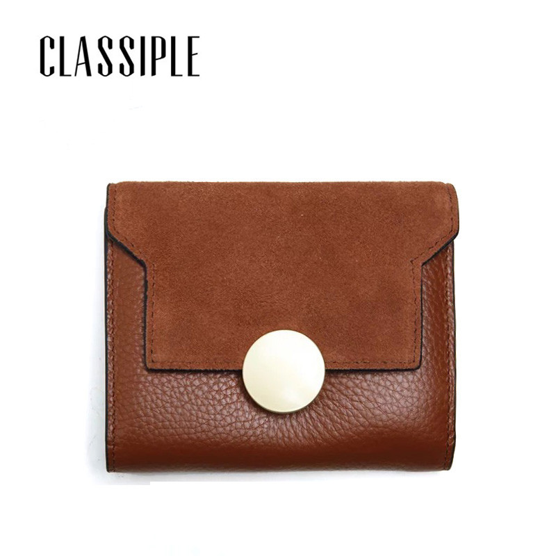 Real Leather Short Wallet Women 2018 Newest Brown Cow Genuine Leather Purse For Girl Card Holder Coin Pocket Small Clutch Purse high quality 100% genuine leather women wallet ladies short wallets leather small wallet coin purse girl card holder clutch bag