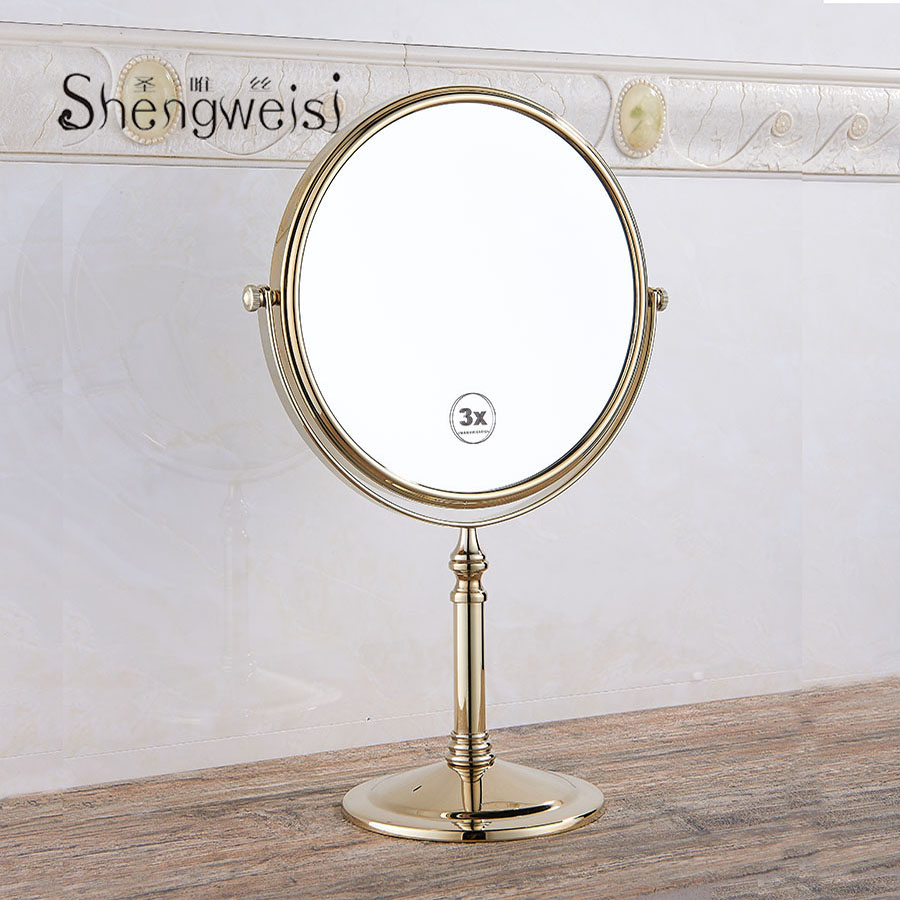 Bath Mirrors 8 Inch Round Mirror Table Magnifying Mirrors Makeup Cosmetic Black Double Side Brass Mirror for Bathroom F