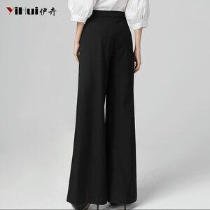 Image 4 - Newest Office Ladies High Waist Full Length Straight Pants Women Trousers Pocket Zipper Fly Plus Size 4XL Black Soft Flat Pants