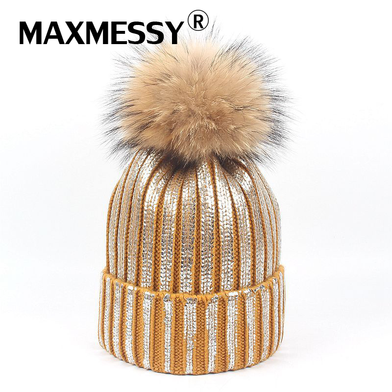 MAXMESSY Thick Bronzing Silver Caps Raccoon Fur Pompom Hat For Women Winter Knit Warm Hats Female Skullies Beanies MH144