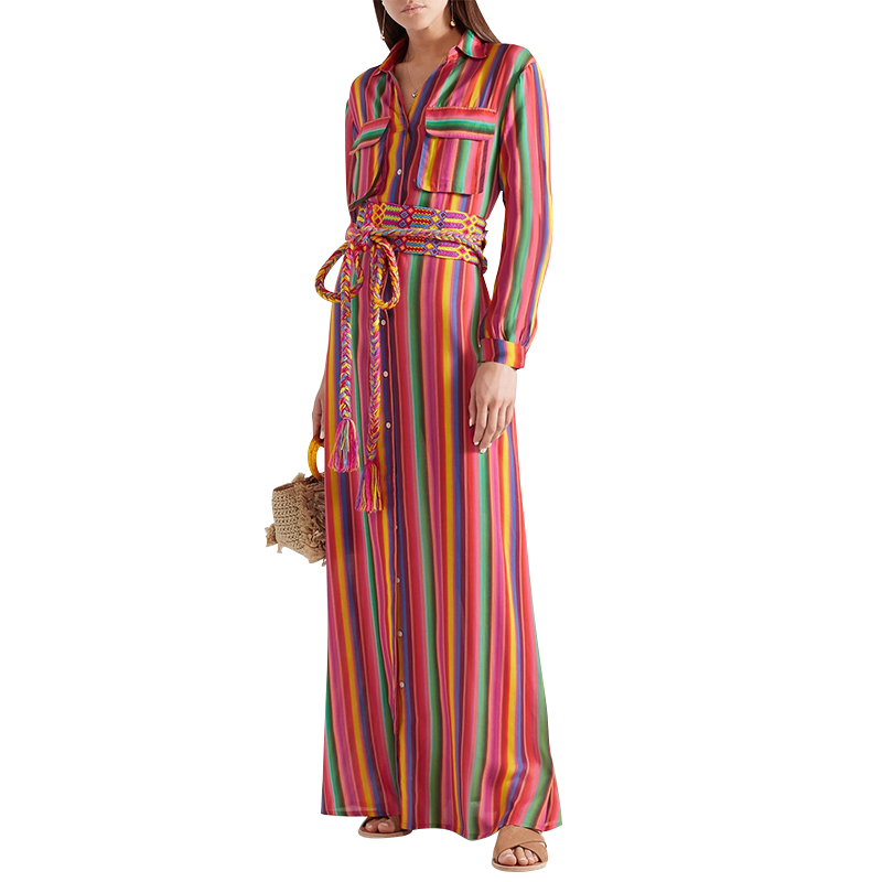 Women Lapel Neck Button Color Striped Print Maxi Dress Casual Loose Long Sleeve Long Shirt Dress With Pockets