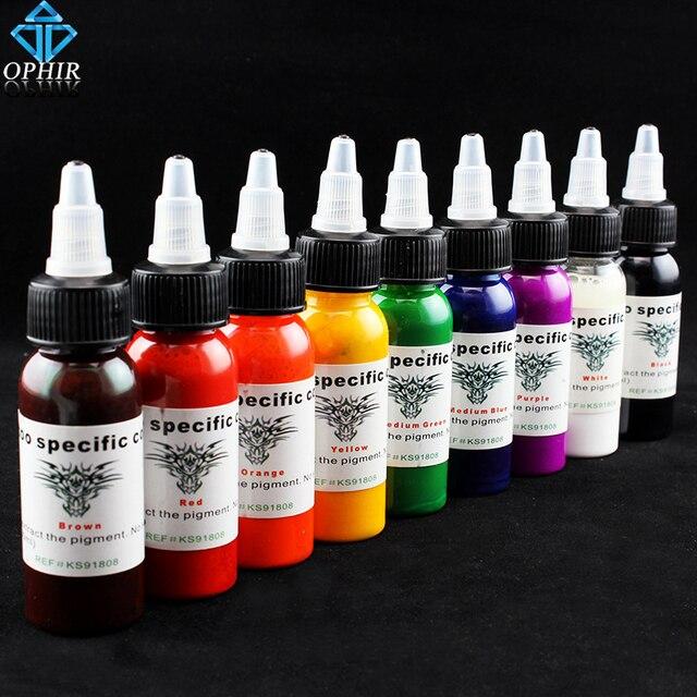OPHIR 9 Colors Professional Tattoo Ink Pigment 30ml/Bottle Permanent Tattoo Inks For Body Tattoo Art Supply _TA021