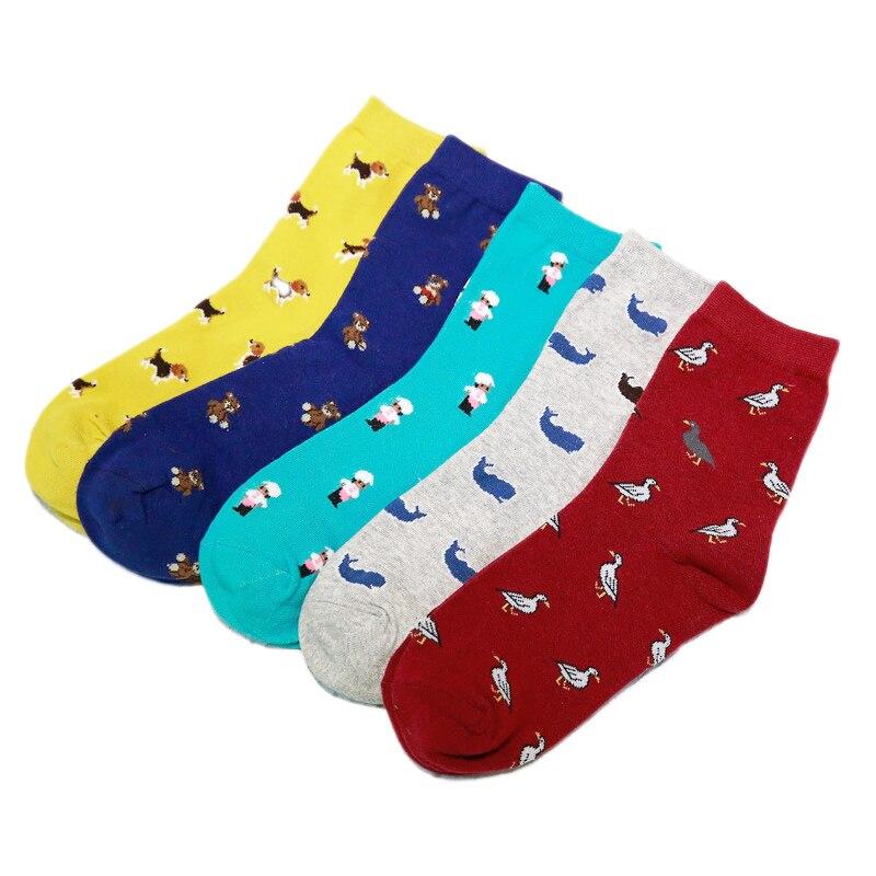 1 пара Удобная Лидер продаж 5 цветов Новая мода Женщины Мужчины Красочные собака коттоновые носки бесплатная доставка бесплатная Размеры эл...