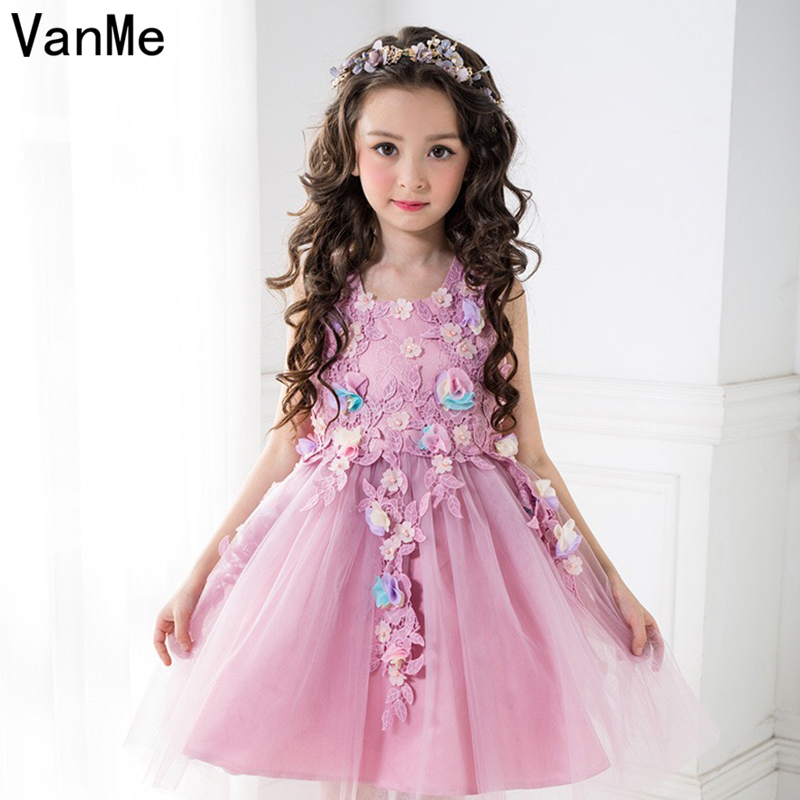 VanMe Formal Girls Moana Vestido Tulle Dress Pink Ball Gown Flower Decoration Birthday Party Girl's Mini Princess Dress  #V-113 вечернее платье mermaid dress vestido noiva 2015 w006 elie saab evening dress