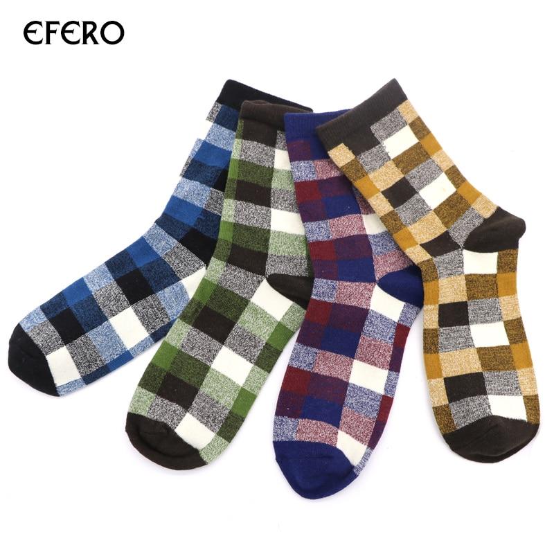 4 Pair efero Cotton Sock for Men Grid Pattern Print Ankle Socks Winter Autumn Warm Short Socks Mens Fashion Business Dress Sock