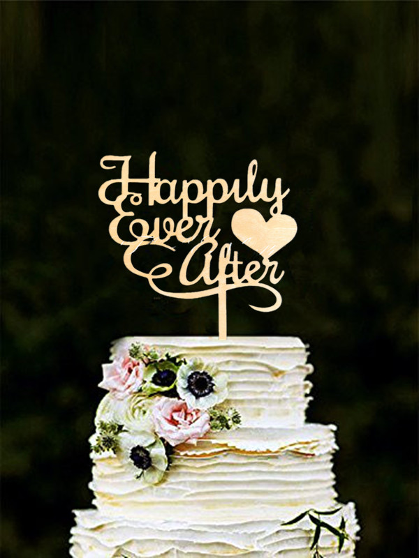 Holz Kuchen Topper Happily Ever After Hochzeitstorte Topper