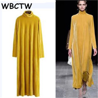 WBCTW Turtleneck Velvet Dress 2018 Winter Runaway Long Sleeves A Line Style Vintage Women Dresses Plus Size Maxi Warm Dress