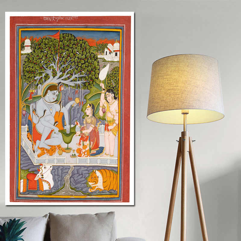 Shiva Parvati and Their Famliy Canvas Art Indian God Figure Painting Religious Posters and Prints Wall Picture for Living Room