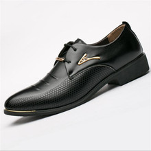 WHOHOLL Luxury brand PU Leather Fashion Men Business Dress Loafers Pointy Black Shoes Oxford Breathable Formal Wedding