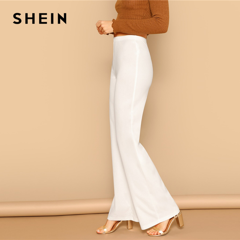 SHEIN White High Waist Straight Leg Pants Office Lady Elastic Waist Long Trousers 2019 Women Spring Plain Workwear Pants 2