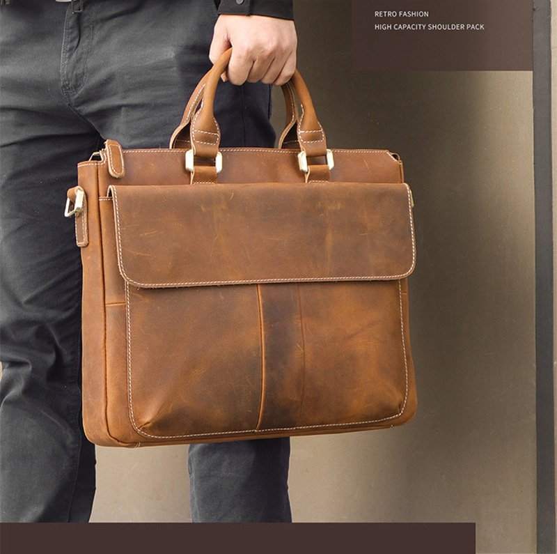 Luufan Genuine Leather Hand Briefcase Office Working Handbags New Fashion Crazy Horse Leather Men Breifcases Brown Laptop Bag
