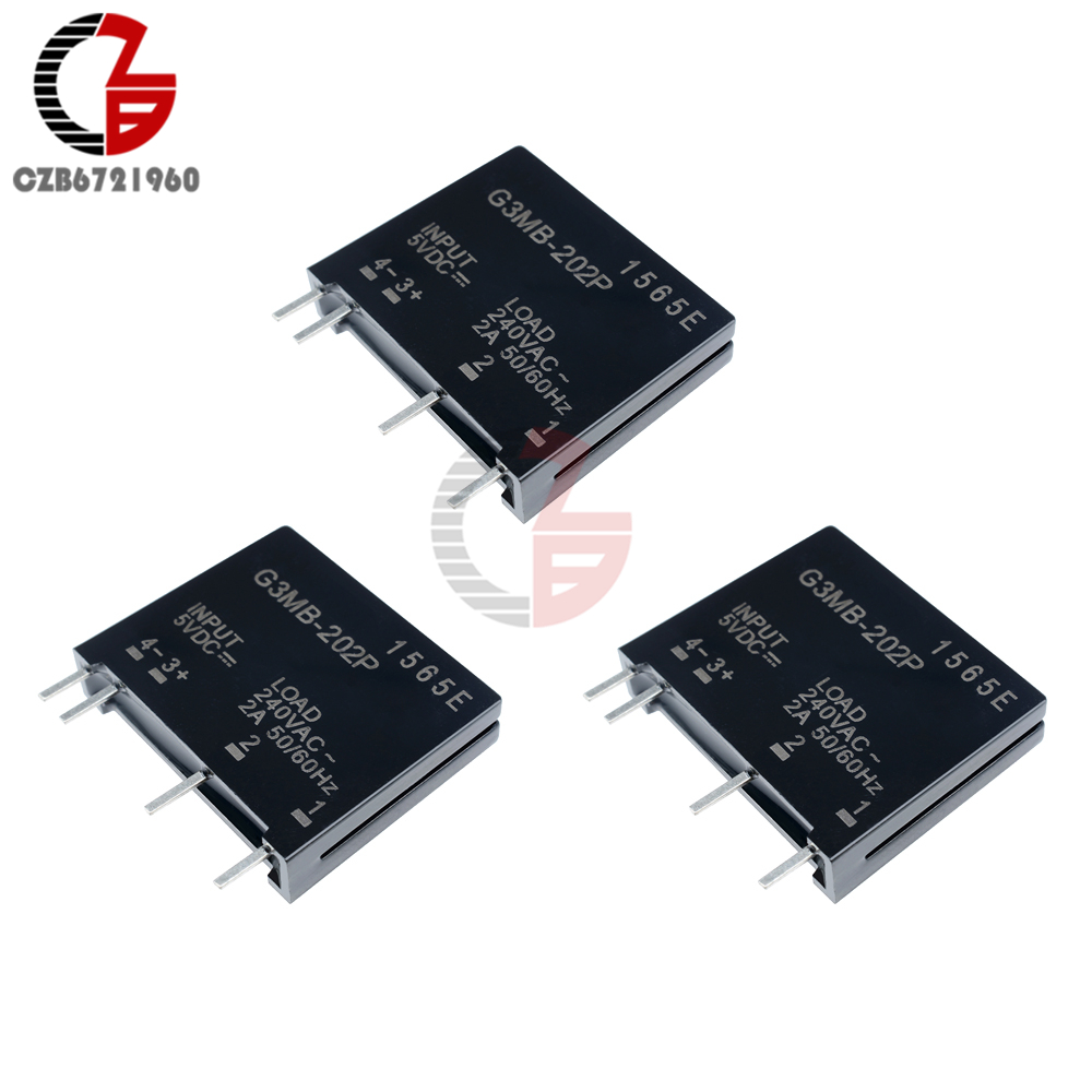 DC 5V 12V 24V Solid State Relay Module G3MB-202P PCB Mounting SIP SSR AC 240V 2A Snubber Circuit Resistor DC-AC Relay Module