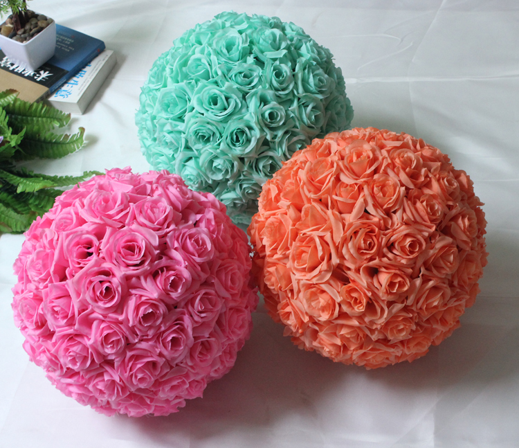"7 Inches White Flower Ball: 8""(20cm) Mint Green Flowers Ball Silk Rose Wedding Kissing"