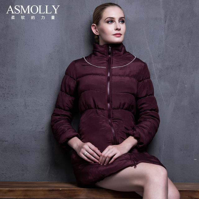 Cheap Asmolly jacket women winter Cotton nail bead slim Medium and long silk down warm jacket