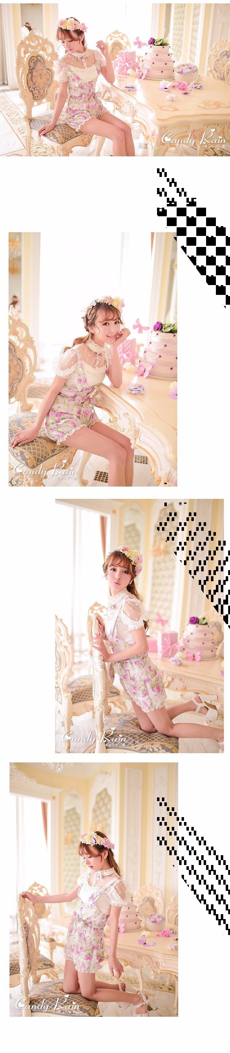 Милые шорты принцессы в стиле Лолиты; Яркие летние шорты в японском стиле с цветочным принтом и бантом; шорты-фонарики на высокой талии; C15AB5711