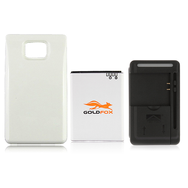 GOLDFOX High 3400mAh Extended Battery + USB Wall Charger + White Back Case Cover For Samsung Galaxy S2 S II GT-i9100 i9100