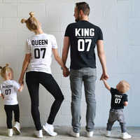 Fashion Family Matching Clothes Daddy Mommy And Me Look Tshirt King Queen Print Woman Baby Girl Dress Sisters Brothers clothing