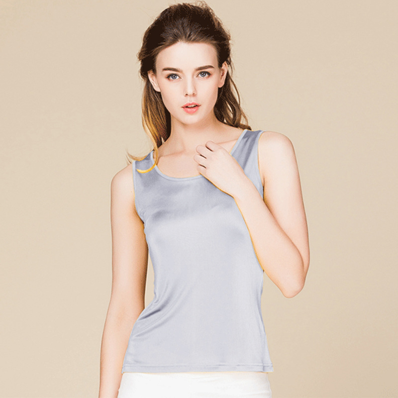 Summer Women 100% Real Silk   Tank     Tops   Casual Knitted Shirts Comfortable Breathable Loose T-shirts 1151
