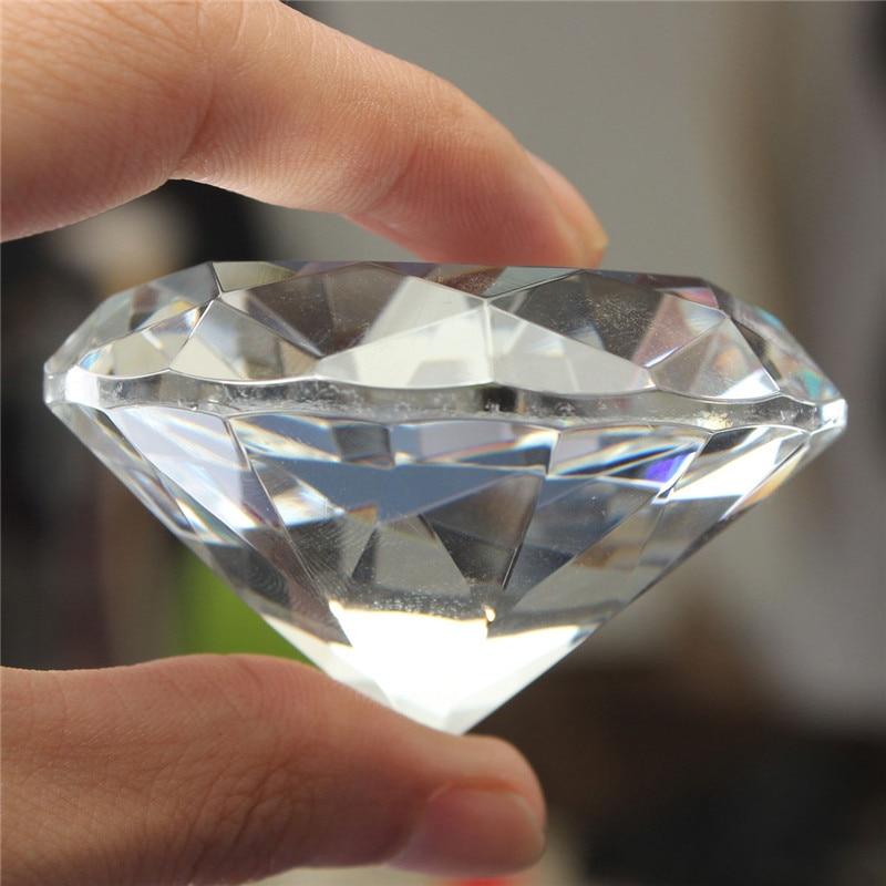 1 pc 60mm / 2.36inch Clair Cristal Diamant Forme Forme Presse-papiers - Décor à la maison - Photo 2