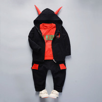 Cotton Children Clothing Sets Winter 3 Piece Baby Boys Girls Clothes Sets Hooded Coat Sport Suit