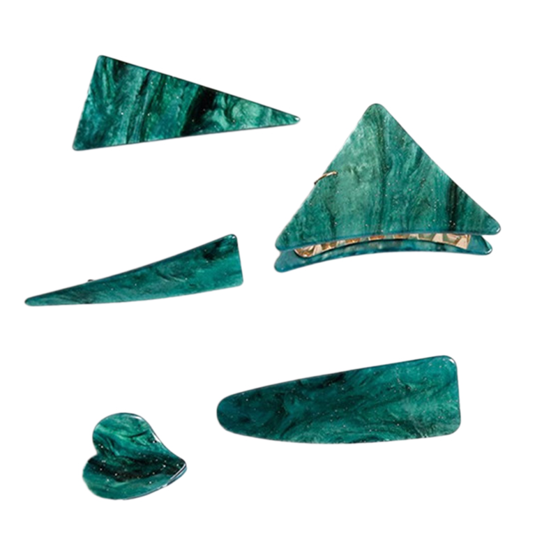 5 Piece Set Elegant Ladies Hairpin Emerald Series Hairpin Heart Triple-cornered Geometry Hairpin Girl Hair Accessories