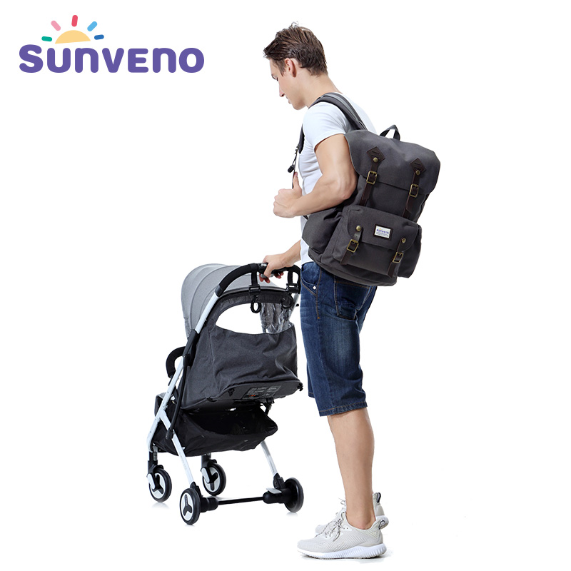 SUNVENO Diaper Bag Multi-Function Daddy Travel Backpack Nappy Bags for Baby Care, Large Capacity, Stylish and Durable 6 colors free shipping multi function inner container hobos nappy diaper baby diaper predelivery bags backpack hanging page 9