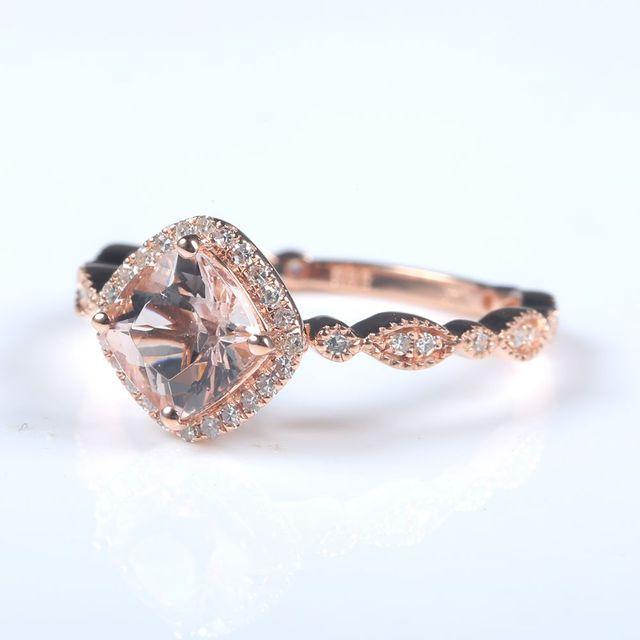 56867652905 BAIHE Solid 10k Rose Gold Women Natural Diamonds Elegant Engagement Wedding  Ring Art Nouveau 6x6mm Cushion Cut Morganite Jewelry