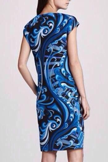 새로운 2015 디자이너 럭셔리 브랜드 여성용 블루 프린트 반소매 스트레치 저지 실크 플러스 사이즈 xxl 드레스-에서드레스부터 여성 의류 의  그룹 2