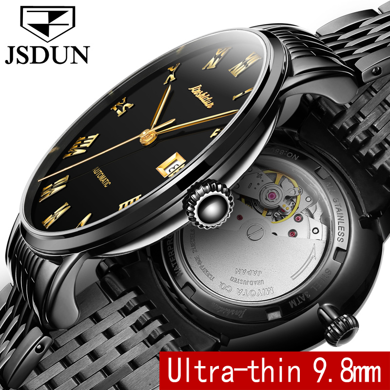 JSDUN Thin Mechanical Watch Business Men Clock Auto Date Steel Strap Top Brand Male Automatic Wristwatch relogio masculino 8809G ks navigator series auto date day month display male leather strap clock white wristwatch men automatic mechanical watch ks178