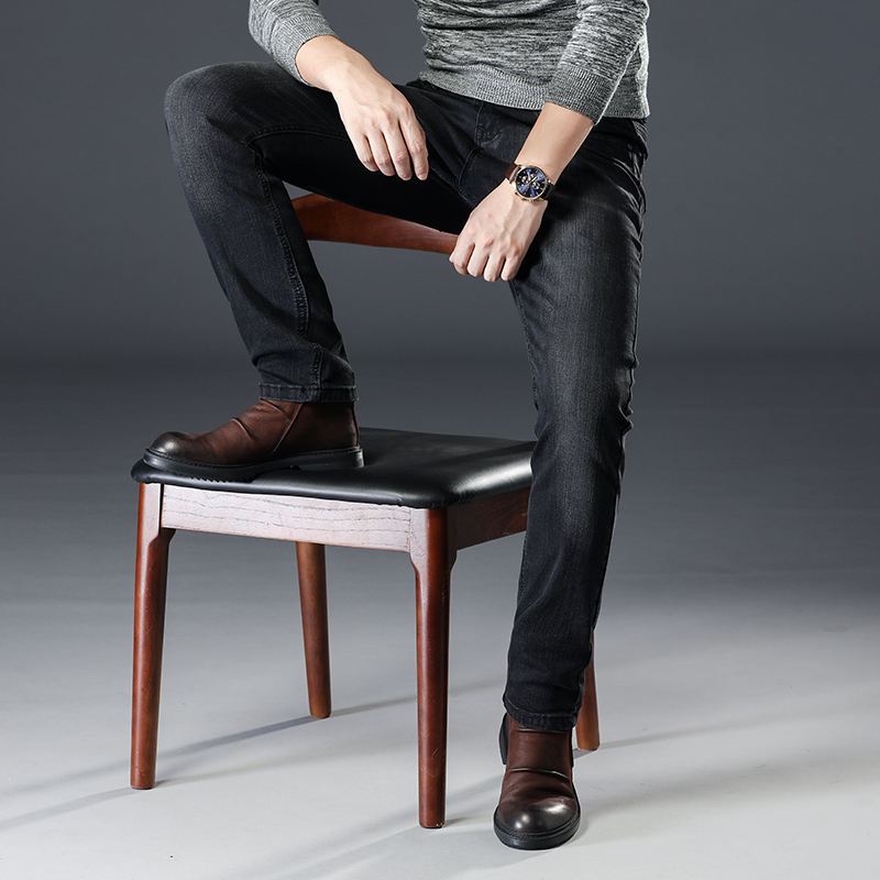 New High Quality Cotton Black Jeans Men Straight Male Business Casual Denim Pants Trousers Size 28-40
