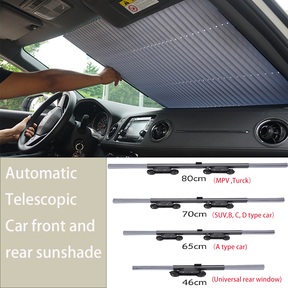 46-80CM SUV Truck Car Front Sunshade Sun Protection Glass Rear Sunshade Car  Accessories Styling Decoration Full Set Suction Cup