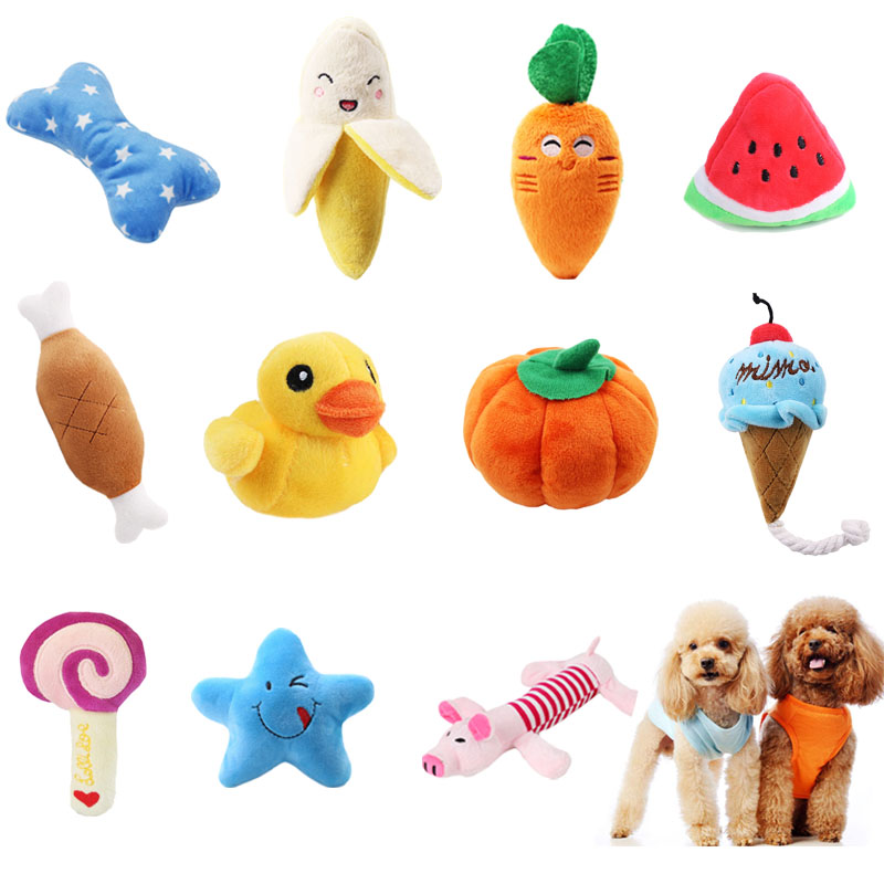 Trustful Cute Small Duck Toys Stuffed Squeaking Animals Pet Toy Plush Giraffe Small Pig For Dogs Chew Squeaker Funny Chew Toy Squeaky Pet Pet Products