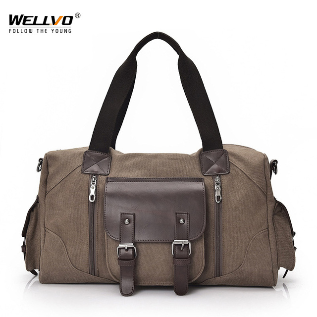 0f15d39931 New Vintage Men s Canvas Travel Duffle Bag Large Brown Luggage Handbag For  Male Shoulder Crossbody Bags Women Black Tote XA36WC